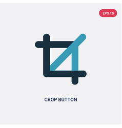 Two color crop button icon from user interface vector