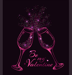 Two pink glittering glasses of champagne vector