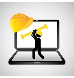 Under construction web page worker tool vector