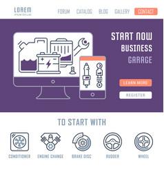 Website banner and landing page garage vector