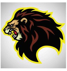 wild lion head roaring logo mascot vector image