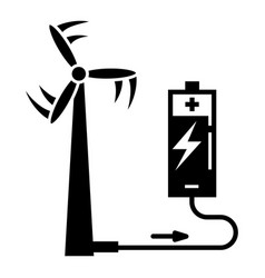 wind turbine battery charging icon simple style vector image