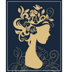 woman silhouette in flowers vector image