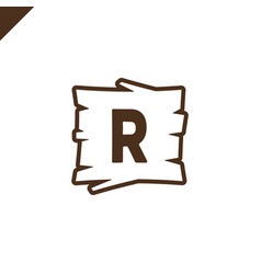 wooden alphabet or font blocks with letter r in vector image