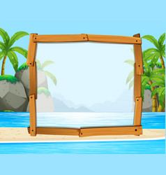 Wooden frame with ocean in background vector