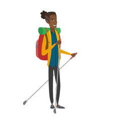 Young african hiker walking with trekking sticks vector