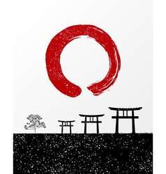 Zen circle and Japan landscape vector