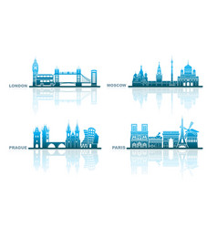 architectural landmarks of european capitals vector image