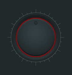 Black inetrface button round knob with red vector