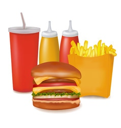 group of cheeseburger and cola vector image