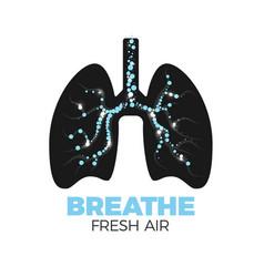 healthy lungs icon vector image vector image