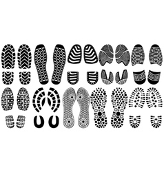 Shoe print silhouettes vector