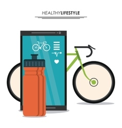 Smartphone bottle and bike icon healthy lifestyle vector