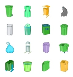 Trashcan icons set cartoon style vector