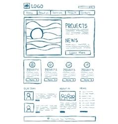 Website Layout Doodle vector image vector image