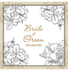 Wedding day card with lilies vector image vector image