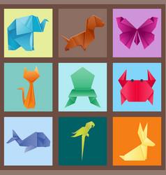 animals origami set japanese folded modern vector image vector image
