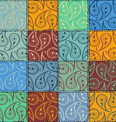 Paisley seamless pattern of patchworks vector image vector image