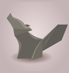 a paper origami wolf paper zoo element vector image
