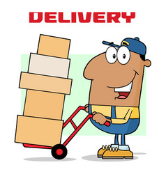 african american delivery man vector image vector image