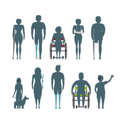 disabled people silhouette isolated set vector image