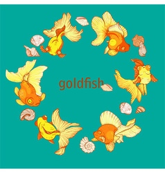 frame with fish and shells vector image vector image