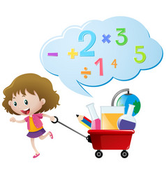 Girl and numbers on red wagon vector