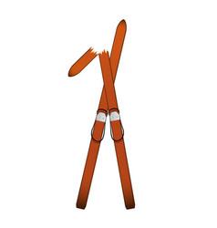 Pair of old wooden alpine skis one is broken vector