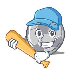 playing baseball football character cartoon style vector image