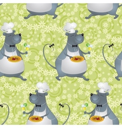 Seamless background cartoon rat cook vector image vector image