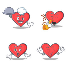 set of heart character with chef trumpet surprised vector image vector image