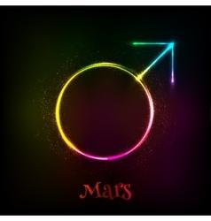 Shining neon light Mars astrological symbol vector image vector image
