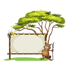 A beaver with a stick near a blank signage vector image vector image