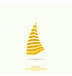 Abstract curved yellow figure vector image