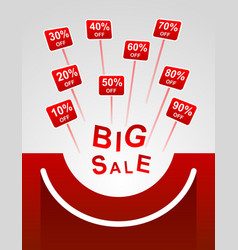 Big sale red plates indicating percent discount vector