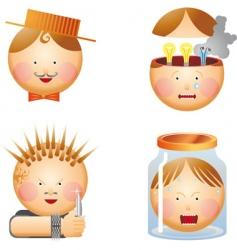 cartoon heads vector image vector image
