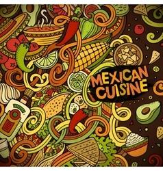 Cartoon mexican food doodles frame design vector image