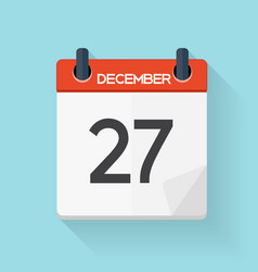 December 27 Calendar Flat Daily Icon vector image vector image