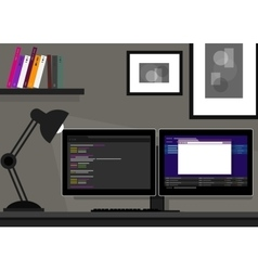 Dual two monitor programming coding web vector