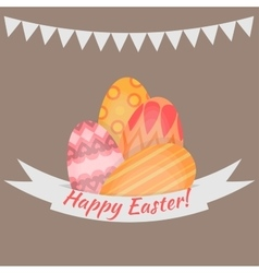 Easter holiday card with colorful eggs flat vector image vector image