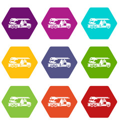 fire engine icon set color hexahedron vector image
