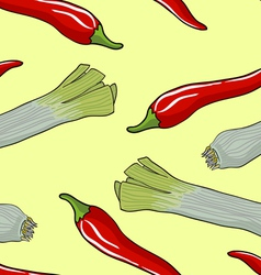 Leek Red Chili Pattern vector image