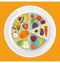 set healthy food products vector image