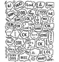 0090 hand drawn background set cute speech vector