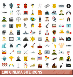 100 cinema site icons set flat style vector