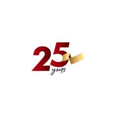 25 years anniversary celebration gold ribbon vector