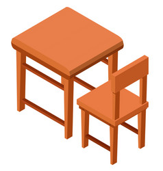 3d design for wooden desk and chair vector