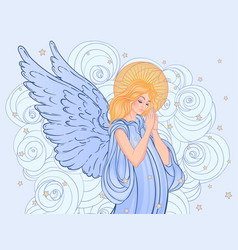 Angel girl with wings cross roses and halo vector