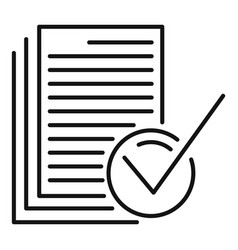 Approved documents icon outline style vector