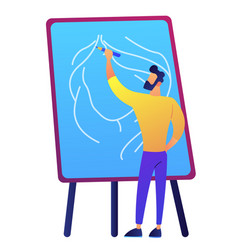 Artist holding a pencil and drawing on board vector
